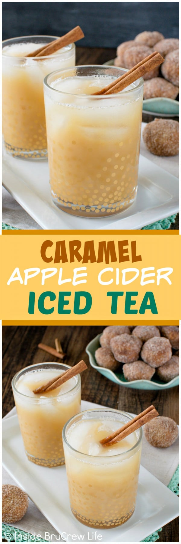 Caramel Apple Cider Iced Tea - this easy and refreshing drink is the perfect blend of flavors for enjoying on a fall day. Great recipe combo.
