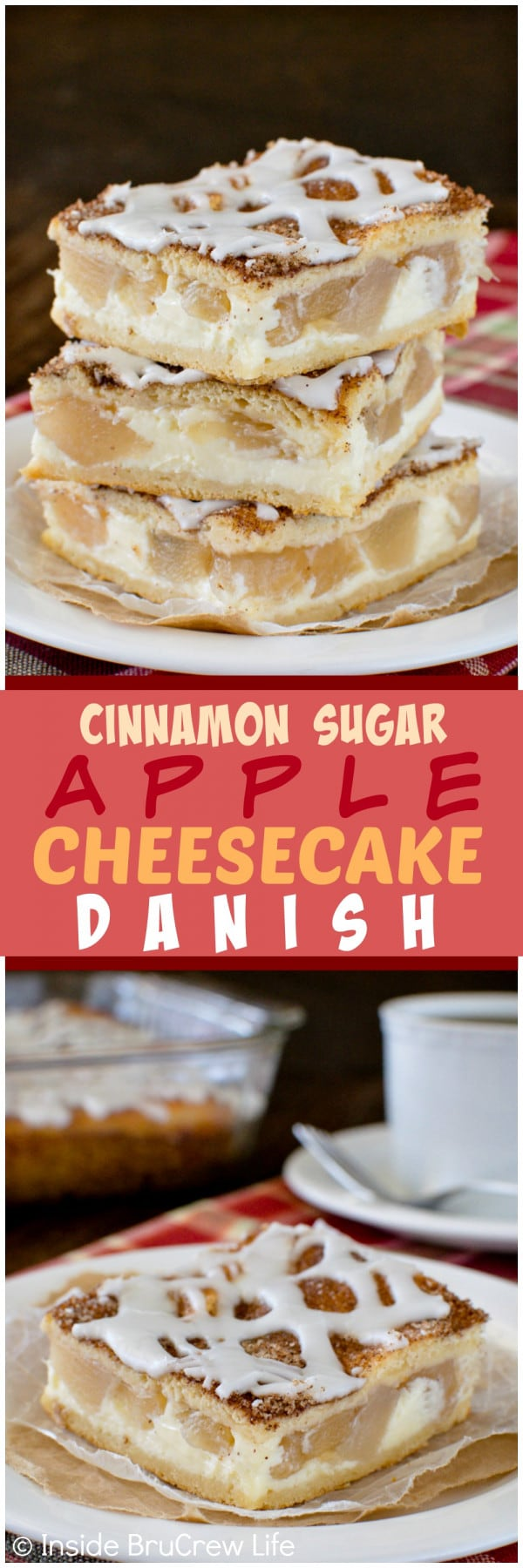 Cinnamon Sugar Apple Cheesecake Danish - the sugar coating gives a sweet crunch to the creamy cheesecake & apple chunks. Great breakfast or dessert recipe!