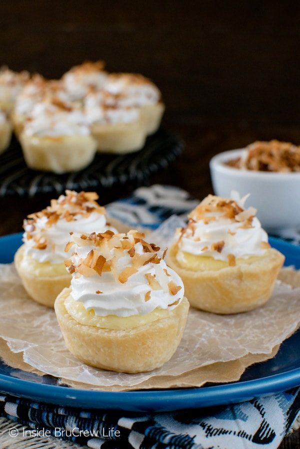 These little Coconut Cream Cheesecake Pie Bites are packed with coconut goodness. Perfect mini dessert recipe for fall dinners.