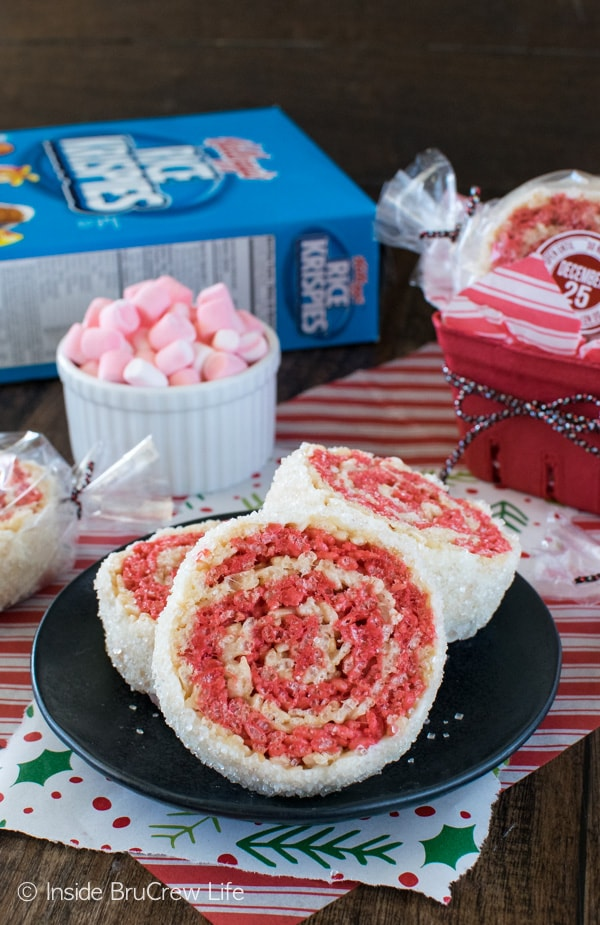 Peppermint Rice Krispies Pinwheels - easy no bake cookie recipe that is great for holiday parties