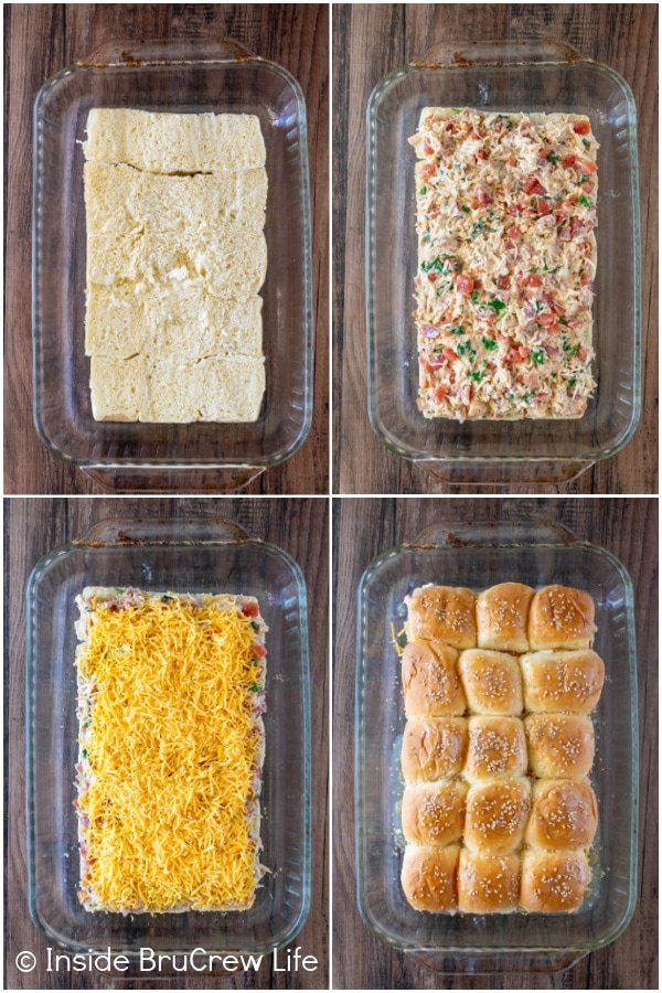 Four pictures collaged together showing how to put together cheesy chicken sliders.