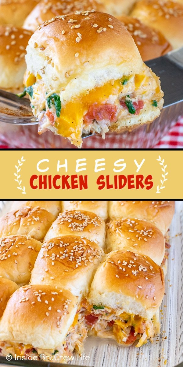 Two pictures of Cheesy Chicken Sliders collaged together with a yellow text box