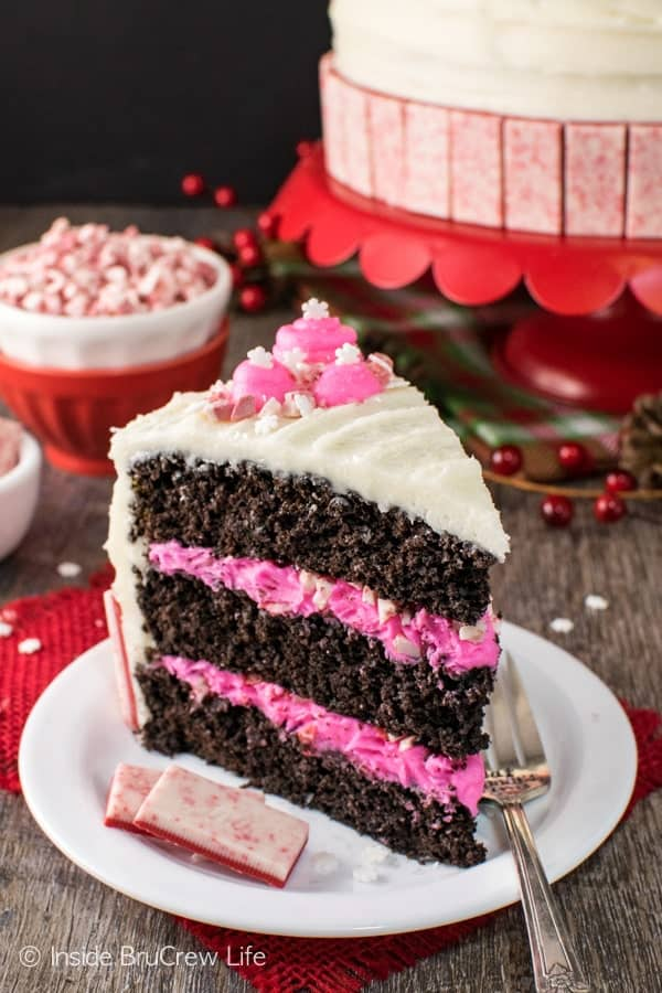 Chocolate Peppermint Layer Cake - homemade cake with layers of peppermint frosting, candies, & sprinkles makes a fun holiday cake. Great recipe for parties!