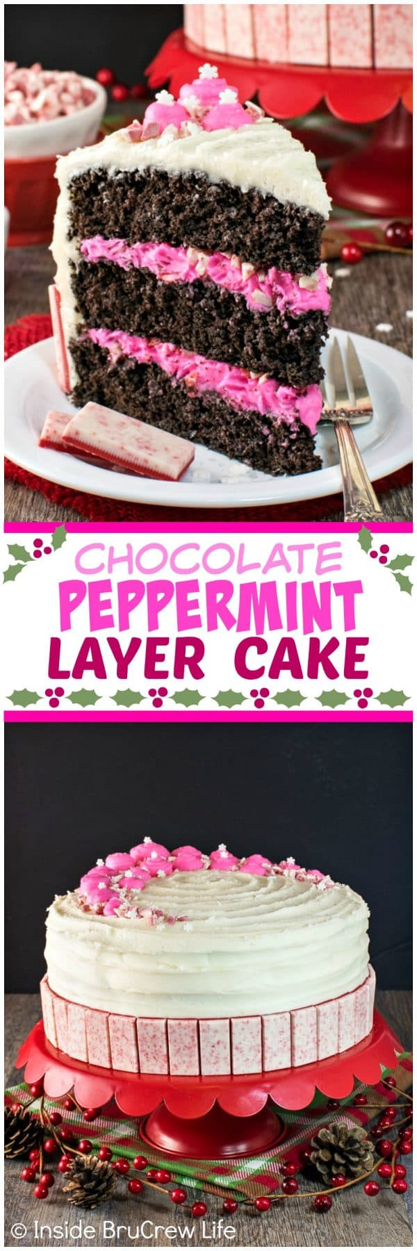 Chocolate Peppermint Layer Cake - candies, peppermint frosting, & sprinkles add a fun flair to this homemade cake. Great recipe for holiday parties.