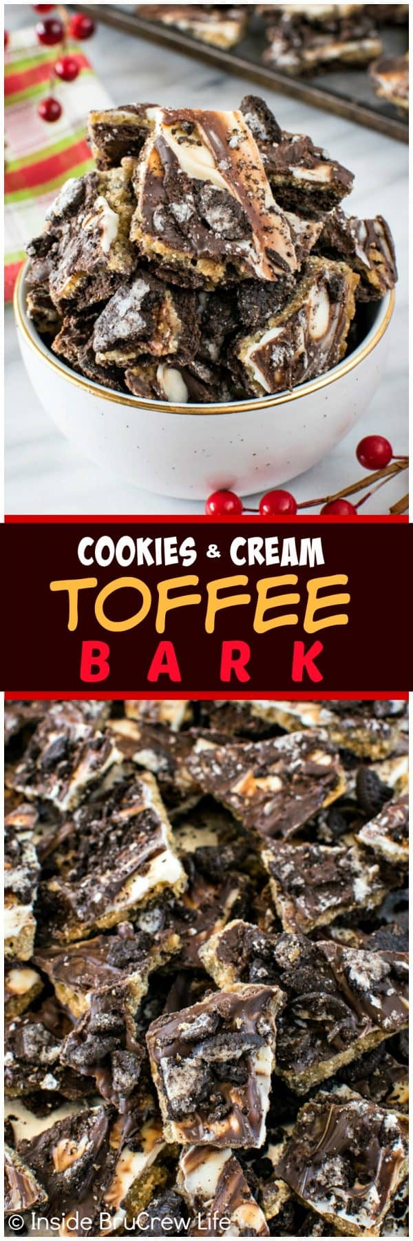 Cookies and Cream Toffee Bark - this easy 5 ingredient treat is loaded with chocolate and cookie chunks! Great dessert recipe for holiday parties!
