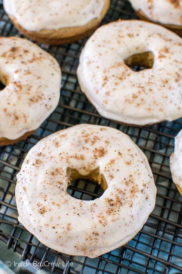 Two times the eggnog gives these easy baked Eggnog Donuts a fun holiday flair. Great recipe for breakfast!