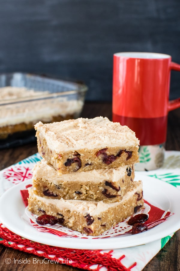 Dried cranberries & apple butter give these easy Frosted Cranberry Apple Butter Bars a sweet flair. Great recipe to change things up!