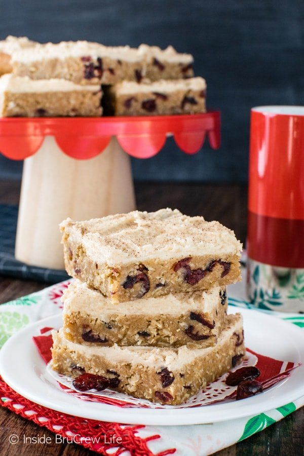 Frosted Cranberry Apple Butter Bars - cranberries, oats, and apple butter make a sweet bar cookie recipe that will blow you away.