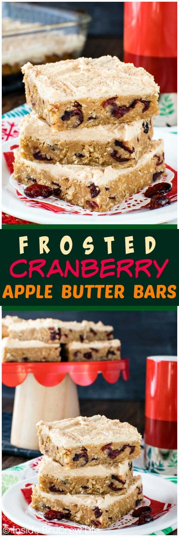 Frosted Cranberry Apple Butter Bars - this easy oatmeal bar recipe is loaded with cranberries and topped with a sweet apple butter frosting!