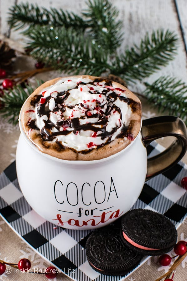 Nutella Hot Chocolate - homemade hot chocolate with a creamy Nutella and marshmallow twist! Great recipe for a cold day!