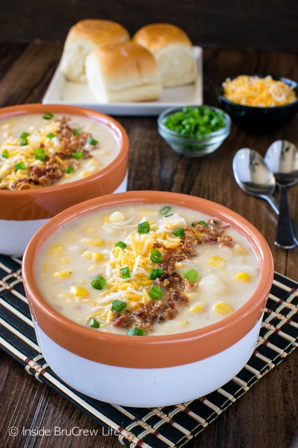 Chicken Corn Chowder - homemade potato soup loaded with chicken, bacon, corn, and cheese. Great comfort food recipe!