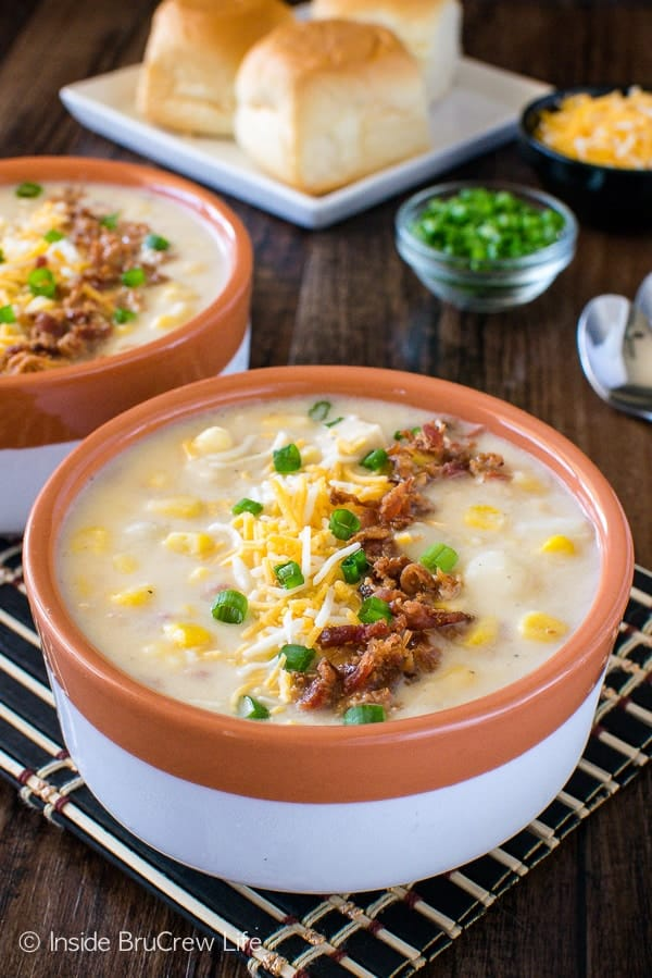 Chicken Corn Chowder - homemade creamy potato soup loaded with meat, veggies, & cheese. Perfect comfort food recipe for a cold day!