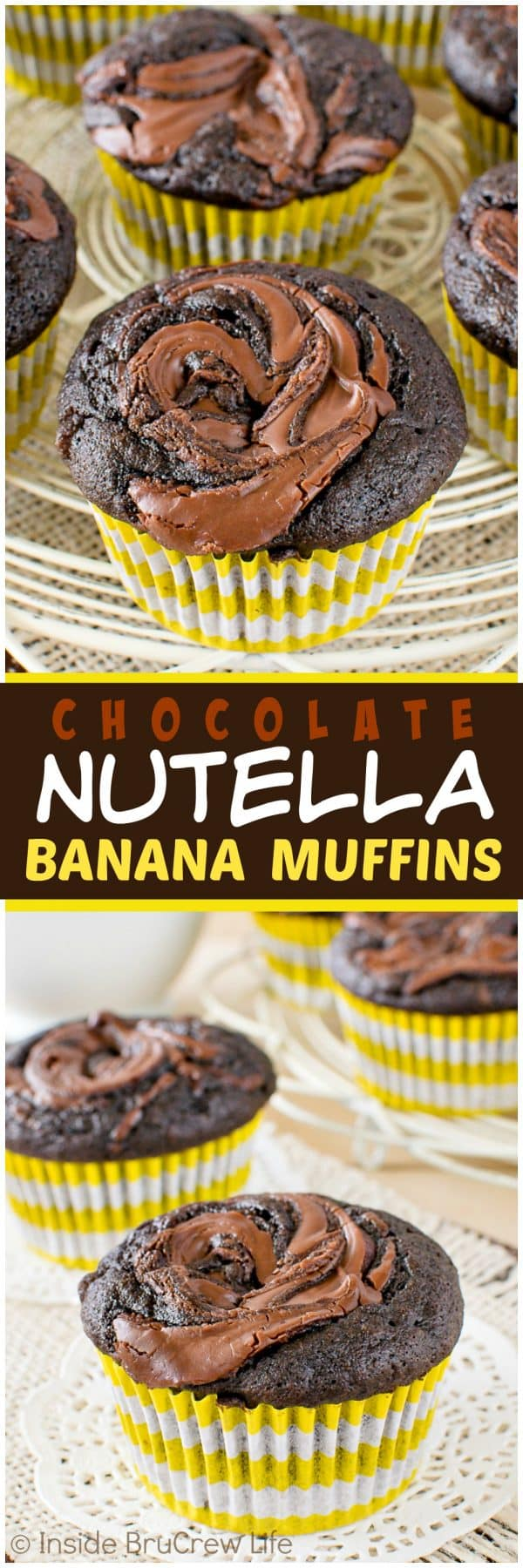 Chocolate Nutella Banana Muffins - this easy breakfast muffin recipe is loaded with chocolate and banana goodness!