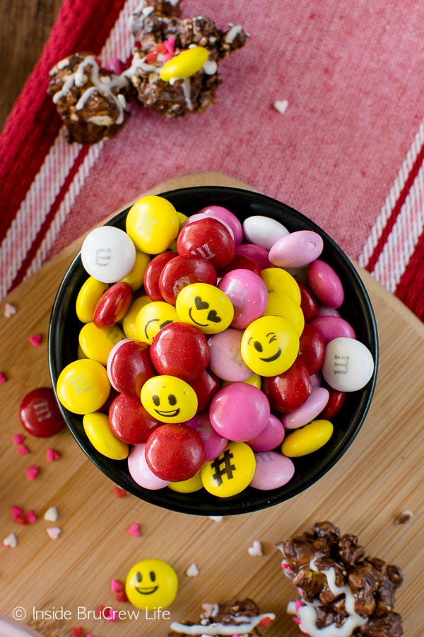 Emoji M&M's add so much fun and color to this Dark Chocolate M&M's Popcorn!