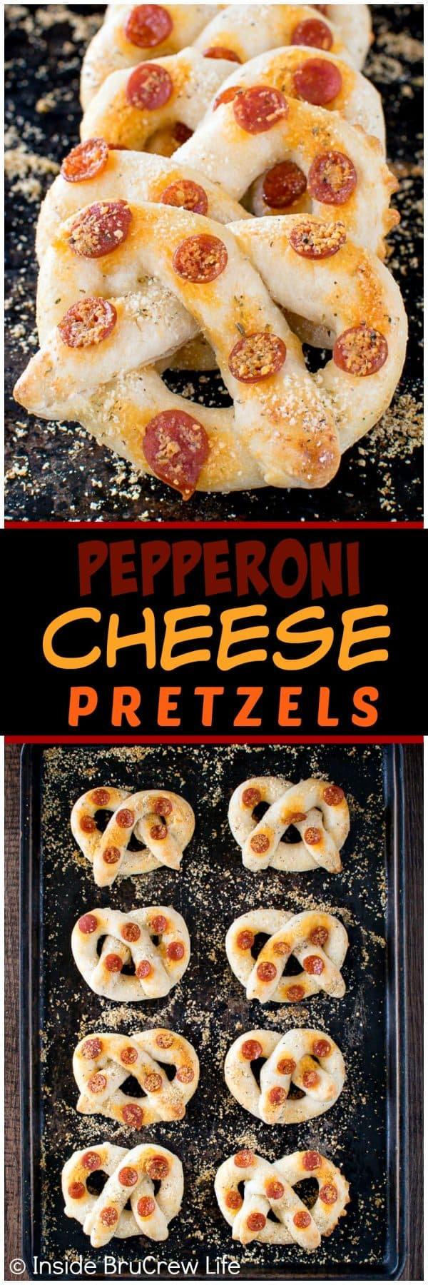 Easy Pepperoni Cheese Pretzels - 3 kinds of cheese and mini pepperonis make these easy breadsticks disappear in a hurry! Great for game day or dinner!