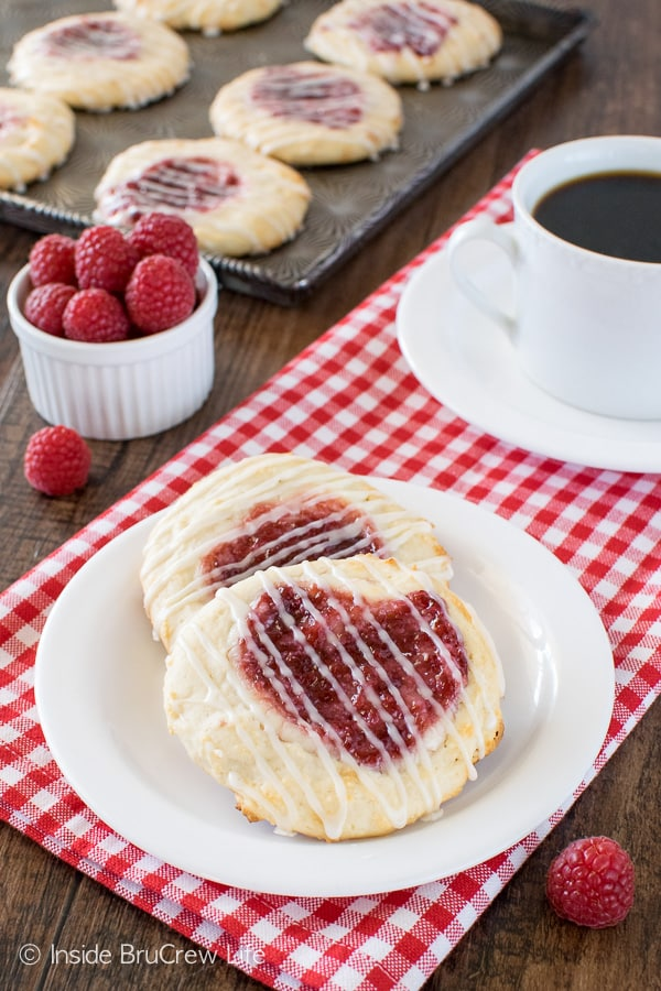 Raspberry Cheesecake Danish - homemade dough filled with cheesecake and jelly makes a great breakfast recipe!