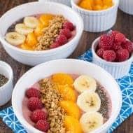 Raspberry Orange Frozen Yogurt Bowls