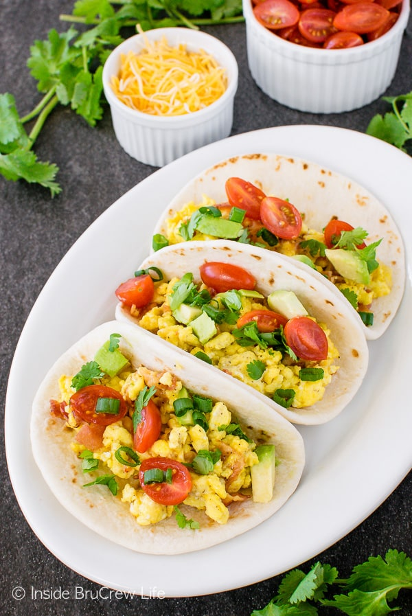 Bacon Egg Breakfast Tacos - loaded egg tacos make a great healthy breakfast for busy mornings!