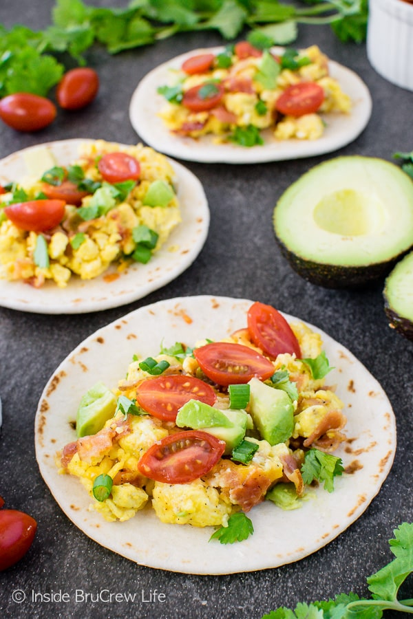 Bacon Egg Breakfast Tacos - cheese, eggs, bacon, and veggies make these loaded breakfast tacos a healthy way to start the day!