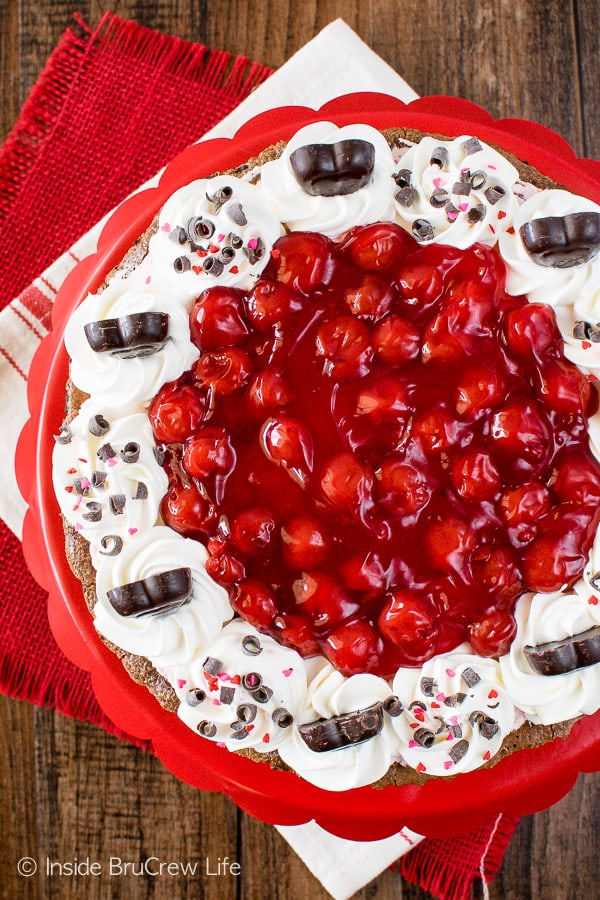 Chocolate Cherry Mousse Tart - layers of chocolate and cherries make this dessert recipe a must make. Great for Valentine's day!
