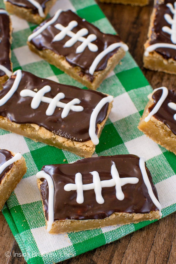 Football Cookie Bars - easy cookies decorated with chocolate to look like footballs. Great recipe for game days or sports parties!