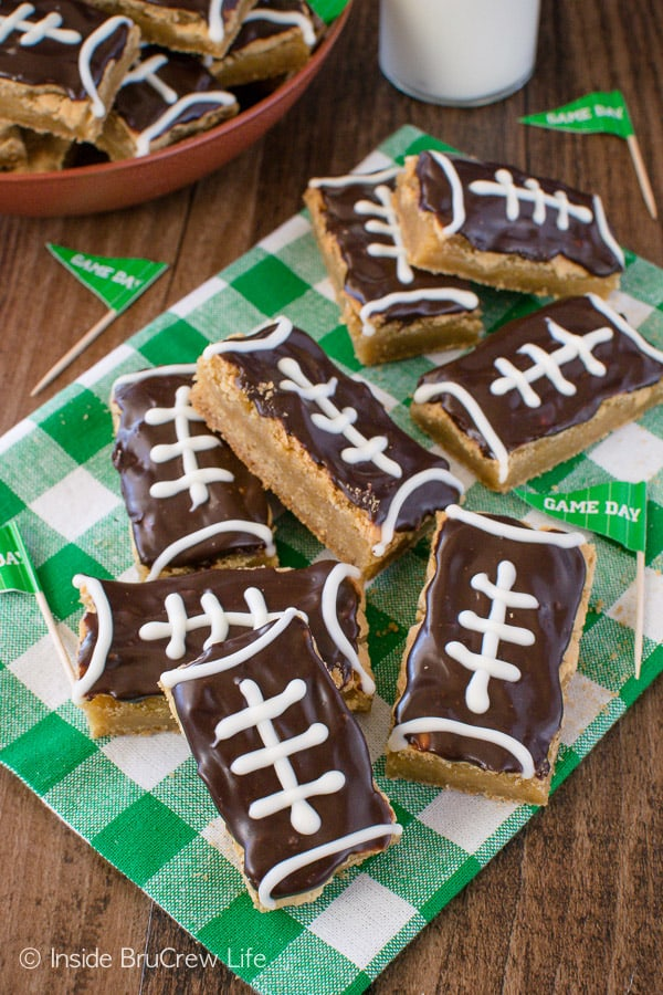 Football Cookie Bars - easy cookie sticks decorated to look like footballs. Easy recipe for sports parties or game days!
