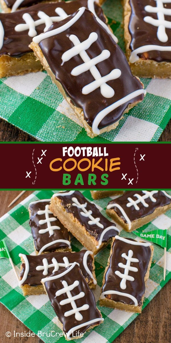 Two pictures of Football Cookie Bars collaged together with a brown text box