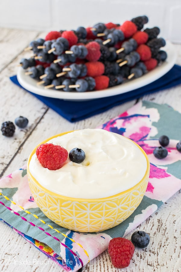 Lemon Cream Fruit Dip - this creamy dip is made from just 2 ingredients and it is perfect for serving with mini fruit skewers. Great recipe for parties and picnics!