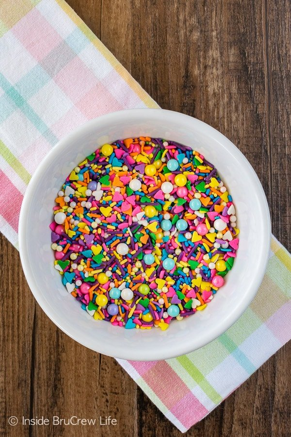 This Unicorn Sprinkle Mix makes your No Bake Rainbow Unicorn Cheesecake Bars so fun and colorful!