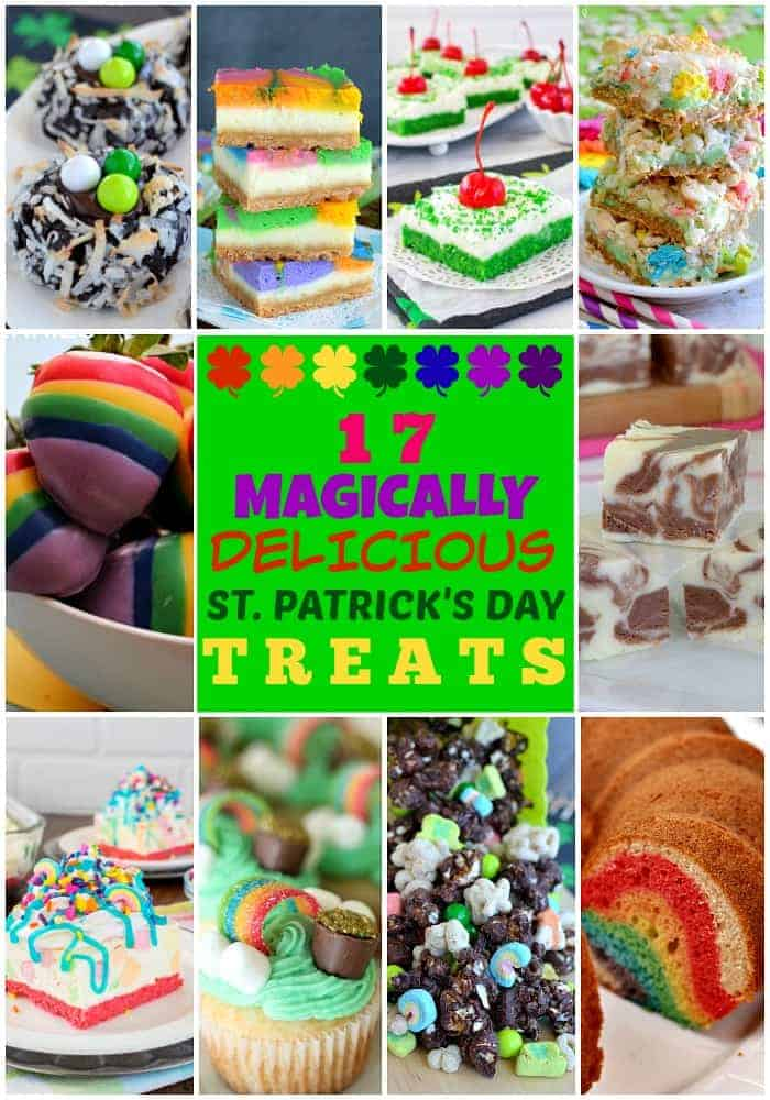 17 Magically Delicious St. Patrick's Day Treats - a fun collection of mint and rainbow inspired desserts. Fun treats for St. Patrick's day parties!