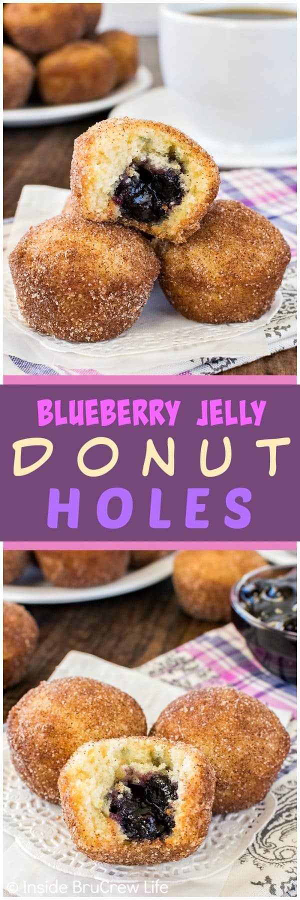 Two photos of Blueberry Jelly Donut Holes on a white doily