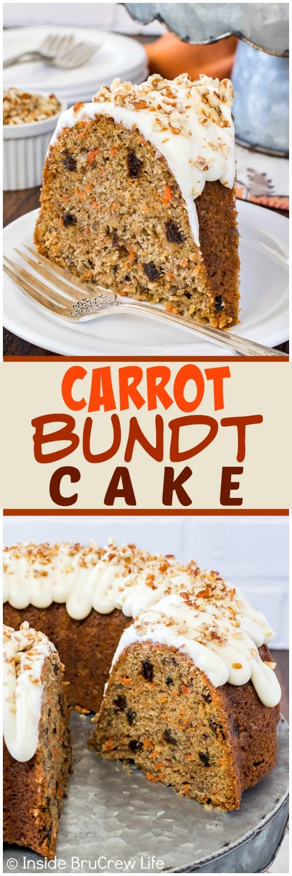 Carrot Bundt Cake - this easy homemade spice cake is loaded with carrots, nuts, and raisins. A swirl of frosting on top makes it a pretty recipe for Easter parties and dinners!