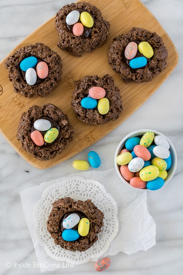 No Bake Easter Nest Cookies - chocolate no bake cookies topped with more chocolate and candy eggs makes a fun and easy Easter recipe for parties!