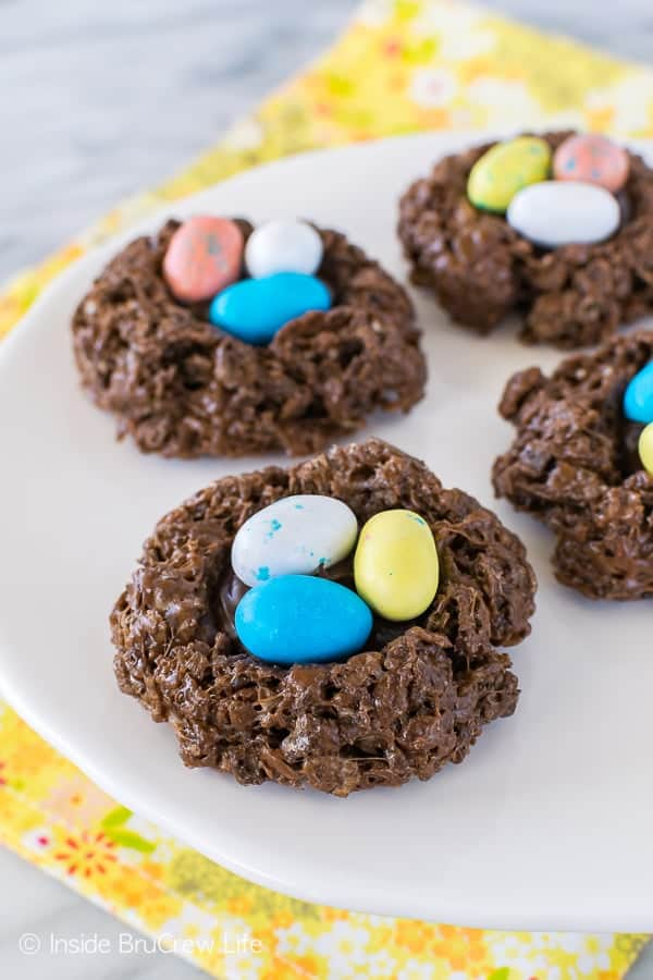 No Bake Easter Nest Cookies - easy chocolate cookies topped with more chocolate and colorful candy eggs. Great Easter recipe for parties!