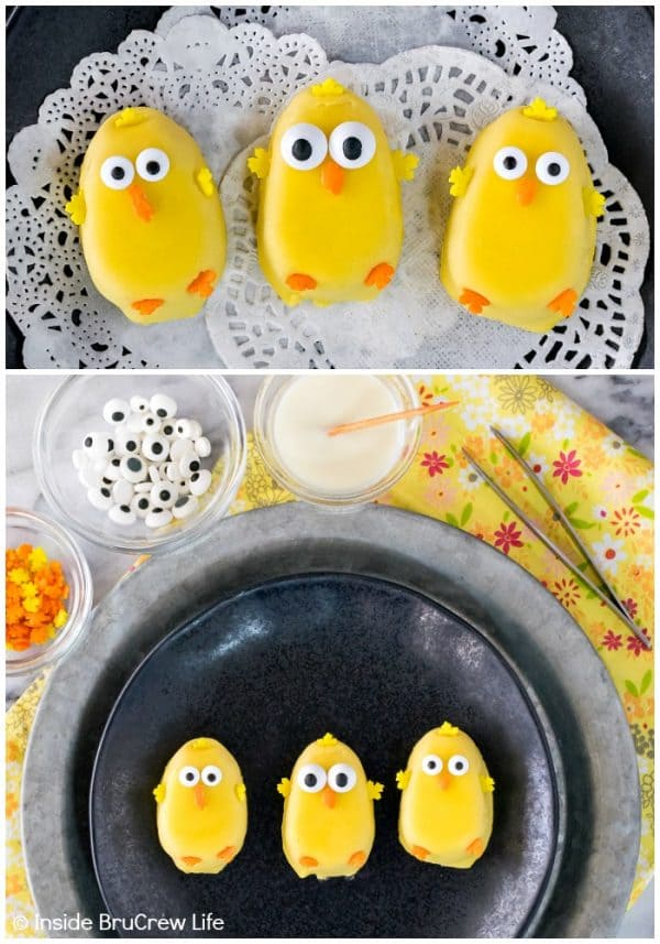 No Bake Easter Nest Cookies - these easy peanut butter chicks are the perfect topper for this easy Easter cookie recipe!