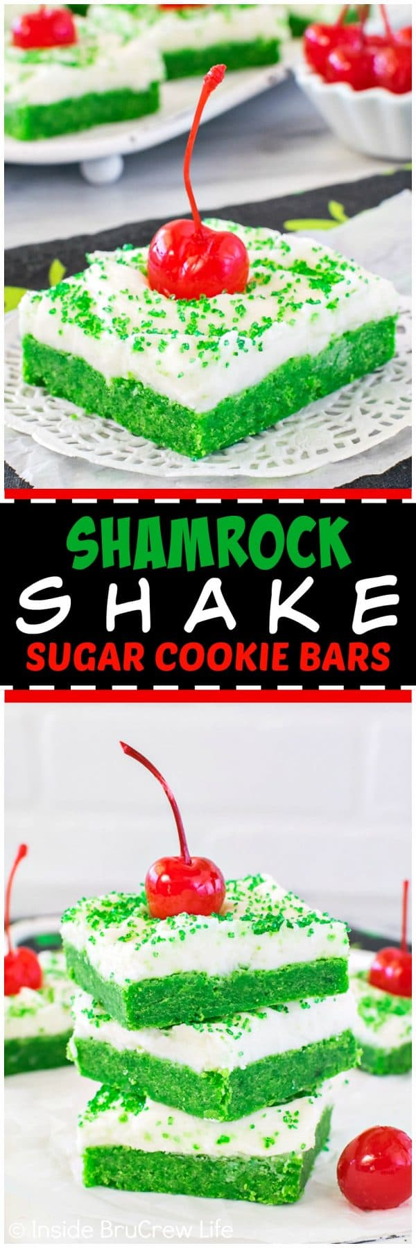 Shamrock Shake Sugar Cookie Bars - easy mint cookie bars with creamy frosting, green sugar, and a cherry make them look like the popular shake. Great dessert for St. Patrick's day parties!