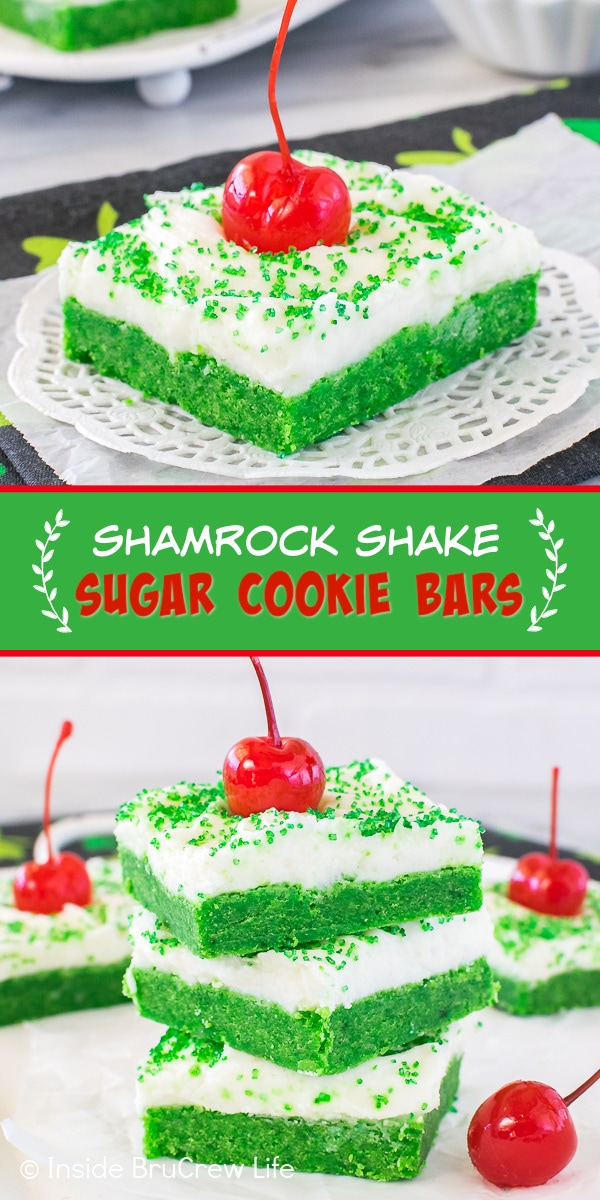 Two pictures of shamrock shake sugar cookie bars collaged together with a green text box