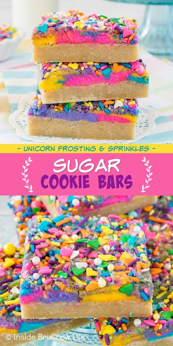 Two pictures of sugar cookie bars with unicorn frosting collaged together with a pink text box