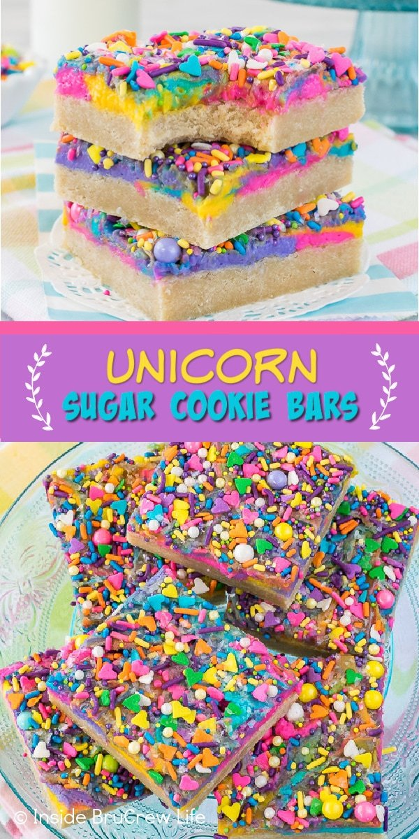 Two pictures of frosted unicorn sugar cookie bars collaged together with a purple text box