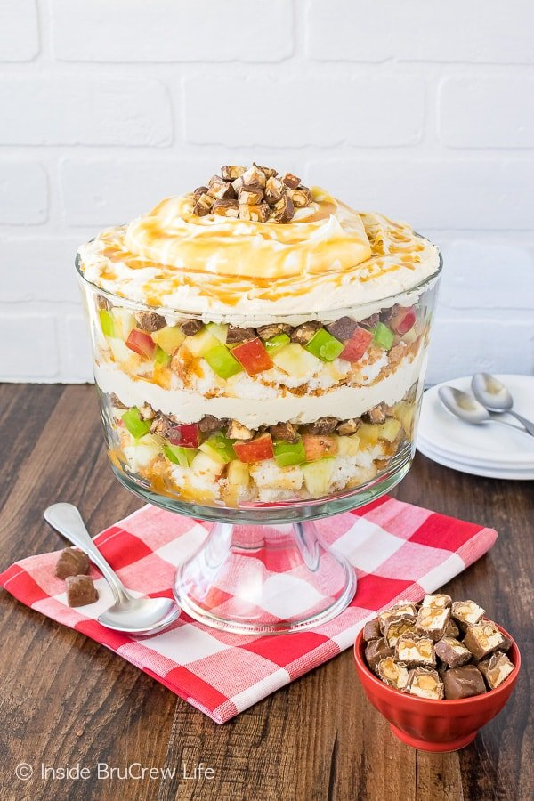 Apple Snickers Cheesecake Trifle - apples, cake, candy bars, and cheesecake make this easy no bake dessert recipe perfect for summer picnics
