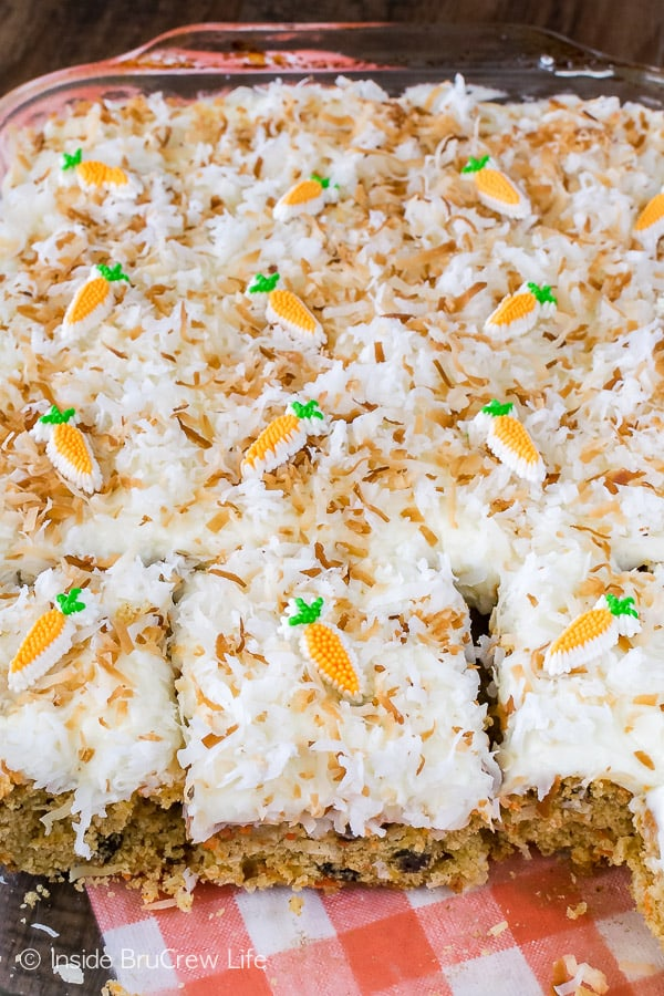 Loaded Carrot Cake - this easy cake is full of fruit and veggies. Great homemade recipe for Easter dinners!