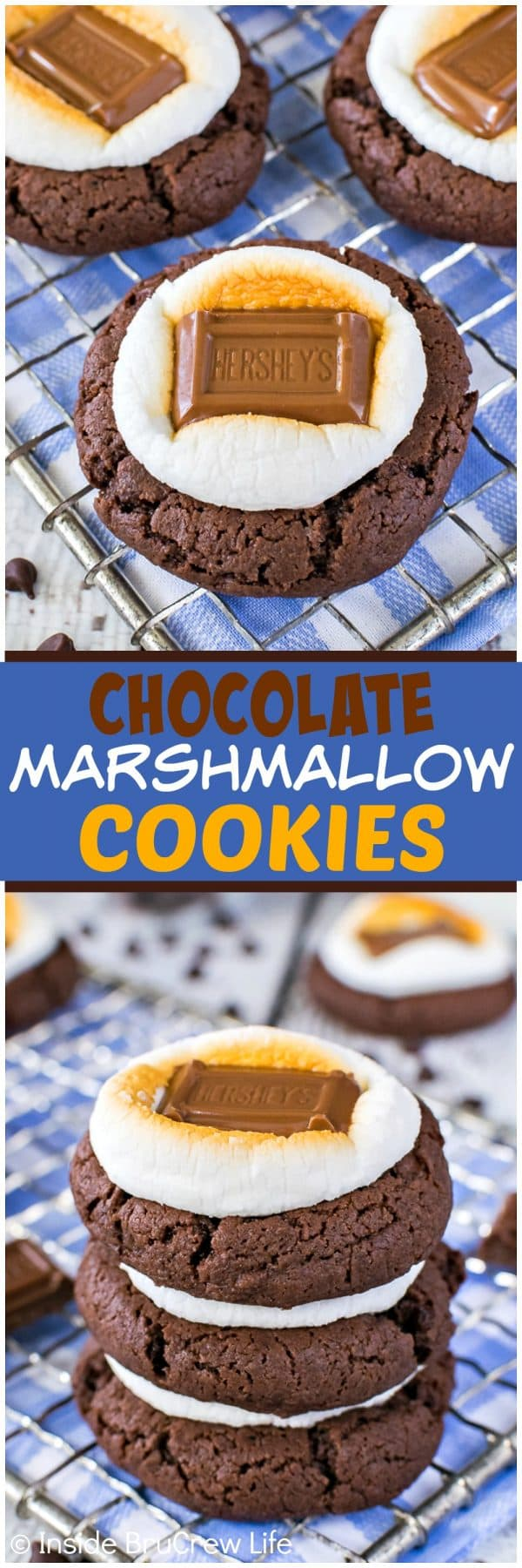 Easy Chocolate Marshmallow Cookies - toasted marshmallows and candy bars add a fun summer flair to these cookies. Great recipe for picnics or parties!