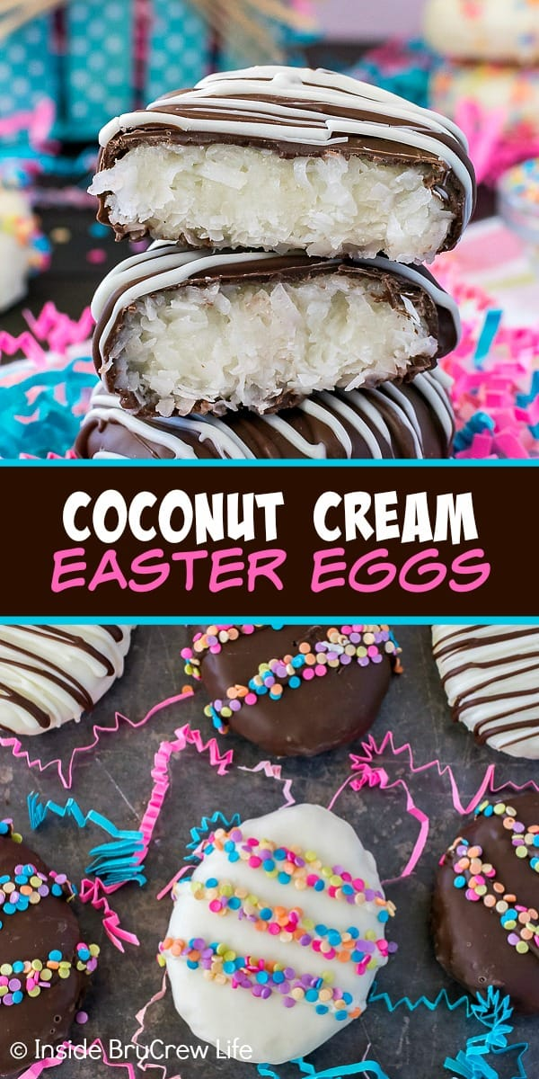 Coconut Cream Eggs - a homemade coconut filling shaped into an egg and dipped in chocolate makes a fun Easter candy! Make this easy recipe to hide in Easter baskets.