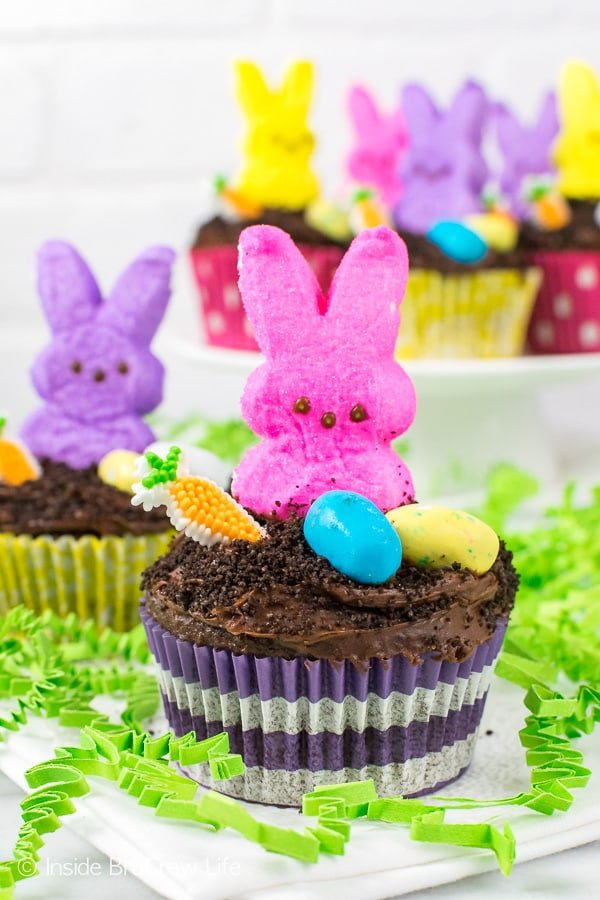 Easter Dirt Cupcakes - a chocolate pudding center and a cute marshmallow bunny makes these a fun Easter party recipe!
