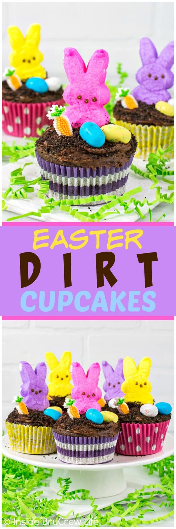 Easter Dirt Cupcakes - a hidden chocolate pudding center and cookie crumbs make these easy cupcakes disappear in a hurry! Great Easter party recipe!