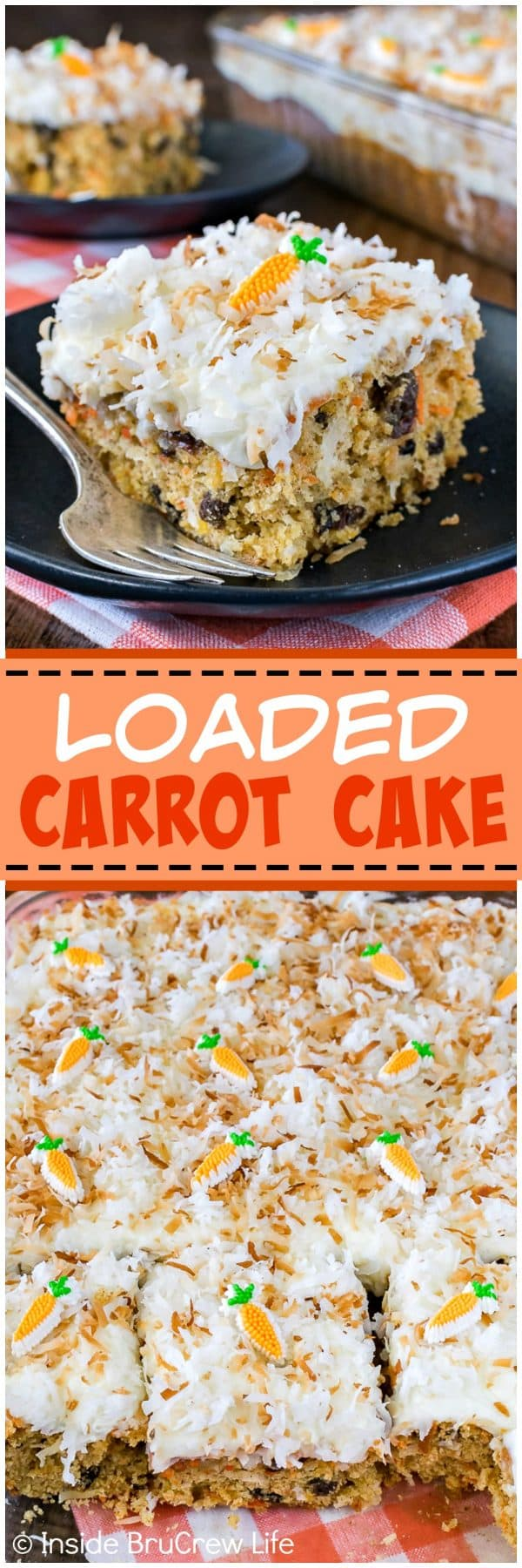 Loaded Carrot Cake - this easy homemade cake is packed full of fruit, veggies, and coconut! It's a delicious recipe to add to Easter dinner!