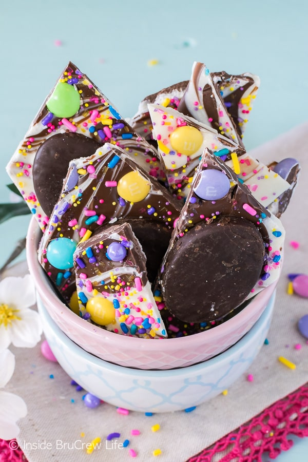 Peppermint Pattie Easter Bark - lots of sprinkles and candies add fun color to this easy no bake treat. Great dessert recipe for Easter parties!