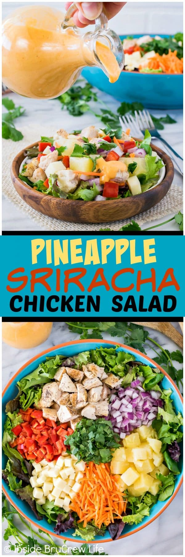 Pineapple Sriracha Chicken Salad - the homemade sweet and spicy dressing makes this veggie salad a keeper! Perfect recipe for hot summer months!