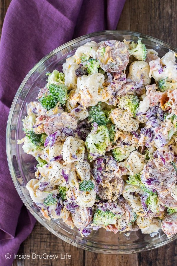 Bacon Broccoli Tortellini Salad - cheese filled pasta, veggies, and meat in a light creamy dressing is the perfect side dish for summer dinners or picnics!