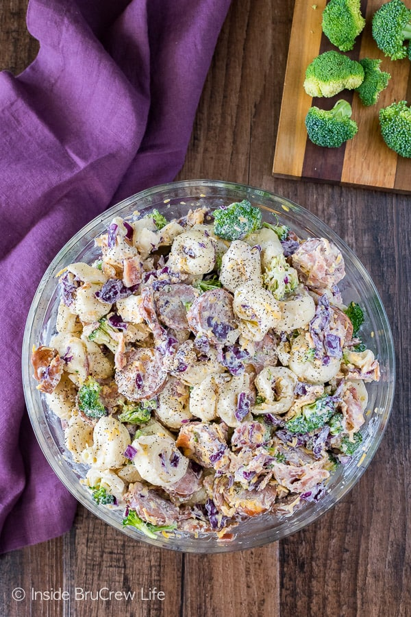 Bacon Broccoli Tortellini Salad - cheese filled pasta, bacon, sausage, and veggies makes an awesome pasta salad recipe for summer picnics!